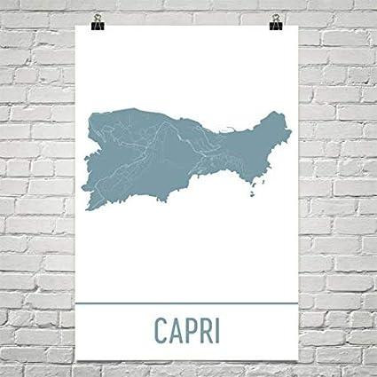 Amazon Com Capri Map Isle Of Capri Art Capri Print Capri Island