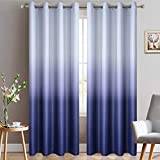 Yakamok Room Darkening Gradient Blackout Curtains Thickening Polyester Ombre Thermal Insulated Grommet Window Drapes for Living Room/Bedroom (Indigo Blue, 2 Panels, 52x84 Inch)