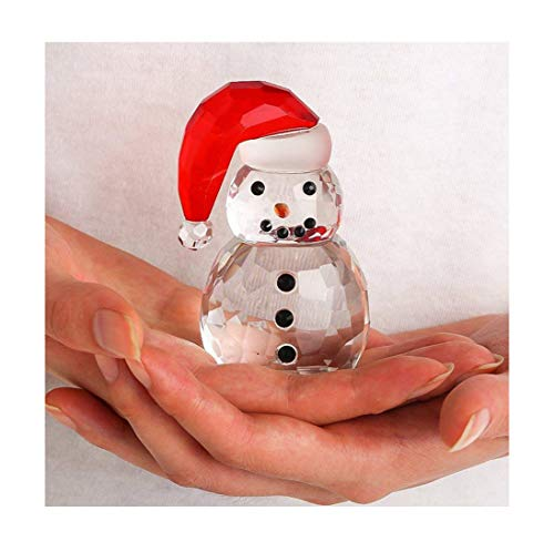 (H&D Christmas Crystal Snowman Figurines Collectibles with Red Hat Holiday Décor)