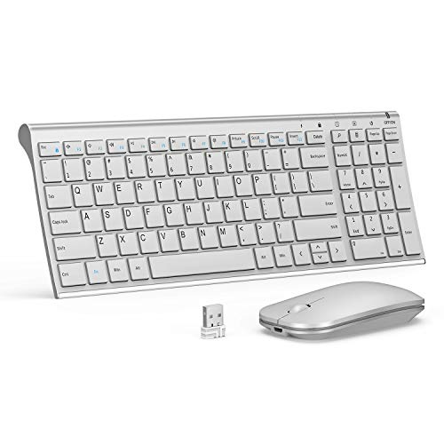 Rechargeable Wireless Keyboard Mouse, Seenda Ultra Small Compact Low Profile Keyboard and Mouse Combo with Number Pad(Aluminium Base, Long Battery Life)-Silver