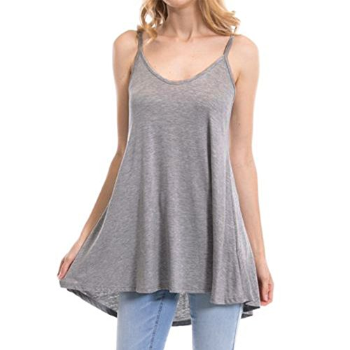 (Women's Summer Tank Tops,Cinsanong Sales! Ladies Solid Color Loose V Neck Sleeveless Vest Strap Fashion Cami Shirts Gray)