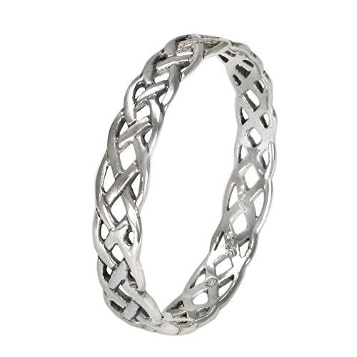 Narrow Sterling Silver Celtic Knot Weave Ring (sz 4-15) sz 10 (Celtic Ring Weave Knot)
