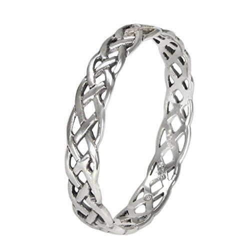(Narrow Sterling Silver Celtic Knot Weave Ring (sz 4-15) sz 10 )