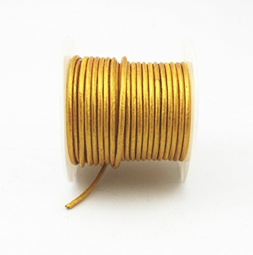 Glory Qin Soft Round Genuine Jewelry Leather Cord Leather Rope (Gold 2mm 10 Yards) (Cord Leather Gold)