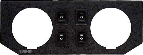 - Vixen Air Dual Gauge / 4 Installed Switches Metal Dash Panel for Air Ride/Suspension Black VXF2GP4R