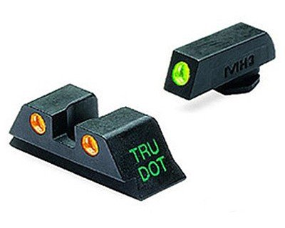 Meprolight Glock Tru-Dot Night Sight for 9mm, .357 Sig, .45 S&W . 45 GAP. Fixed Set. Orange Rear Sight with Green Front Sight by Meprolight