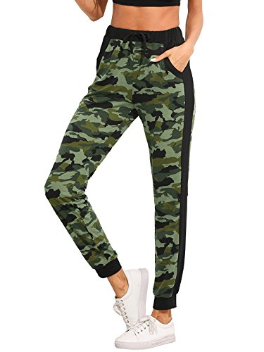 SweatyRocks Women's Drawstring Casual Joggers Pants with Pockets Camo (Pocket Drawstring Pant)
