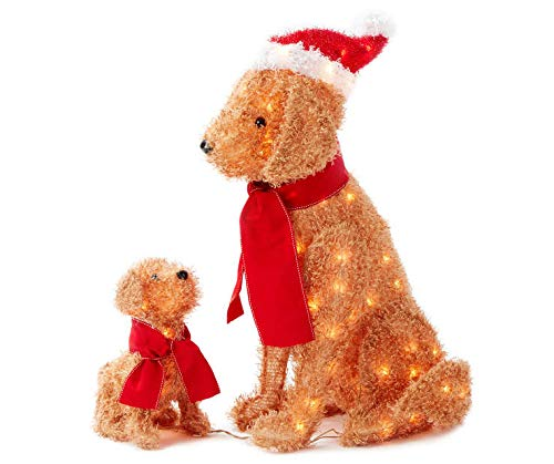 (Set of 2 Fuzzy Lighted Dogs Mama & Puppy Display Outdoor Christmas Yard Decoration Holiday Winter Lawn Sculptures)
