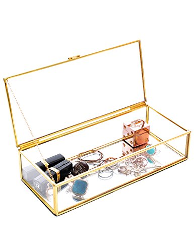 Vintage Brass Metal & Clear Glass Jewelry Stand Display Case Mirrored Shadow Box - Used Glass Display Cases