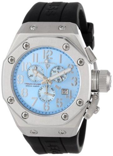Swiss Legend Men's 10541-012-BR Trimix Diver Chronograph Light Blue Dial Black Silicone Watch (Swiss Mens Chronograph Legend)