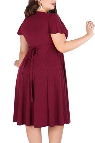 Plus Rouge d'honneur Midi Femme de demoiselle nemidor Robe extensible Casual col Taille V aYpHpqF