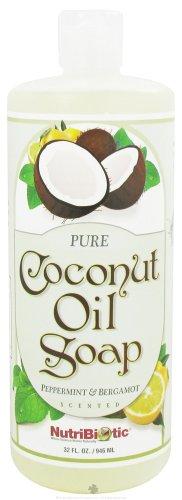 Nutribiotic Pure Coconut Oil Soap, Peppermint and Bergamot, 32 Fluid Ounce