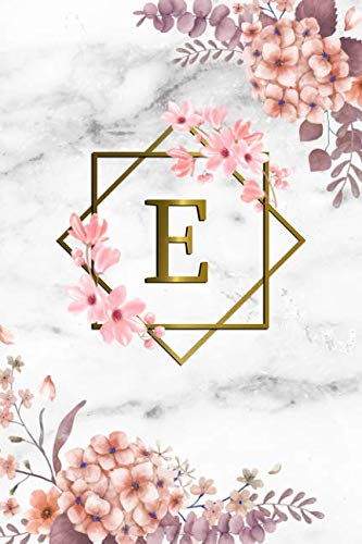 - E: Cute Initial Monogram Letter E College Ruled Notebook. Pretty Personalized Medium Lined Journal & Diary for Writing & Note Taking for Girls and Women - Grey Marble & Gold Pink Floral Print