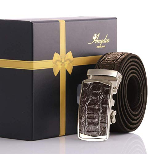 Men's Crocodile Brown Leather Belt turkey Automatic belt smart technology where no holes needed 1 size fits most