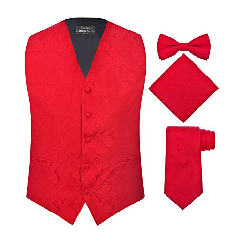 S.H. Churchill & Co. Men's 4 Piece Paisley Vest Set, with Bow Tie, Neck Tie & Pocket Hanky - S, Red ()