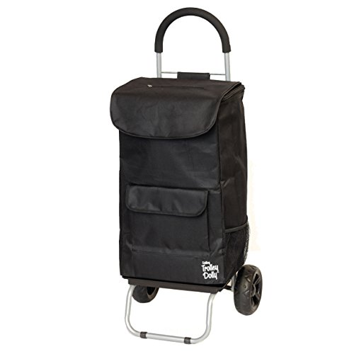 Cooler Trolley Dolly, Black Insulated cooler bag folding collapsible rolling shopping grocery tailgating bbq beer ice cart