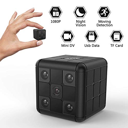 Mini Hidden Camera, Akimy Portable 1080 HD Camera with Night Vision and Motion Dectection, Home and Office Security Surveillance Camera, No WiFi Function
