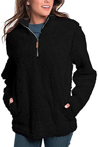 Pink Wind Womens Vintage Inspired Sherpa Quarter-Zip Pullover Sweatshirt