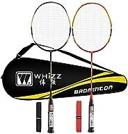 Whizz 2 Player Badminton Racket Set for Adults, 100% Carbon Fiber, Graphite Construction, Badminton Bag &