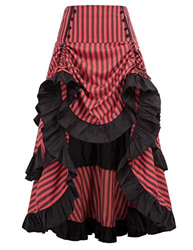 Women Vintage Gothic Victorian Bustle Skirt Steampunk Pirate