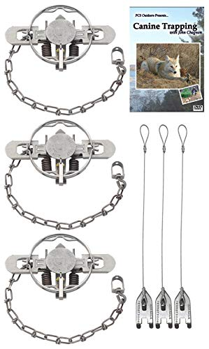 (3 Pack) #1.5 Coil Spring Double Jaw Trap Value Package - DVD & Trap Stakes Included