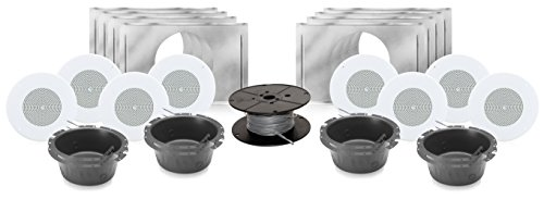 Atlas Sound SD72W 8 Inch 70 Volt Dual Cone In-Ceiling Speaker Bundle with Installation Hardware - Contractor Pack (8 Speakers, White)