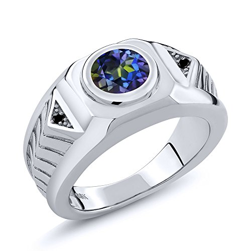 2.03 Ct Round Blue Mystic Topaz Black Diamond 925 Sterling Silver Men's Ring