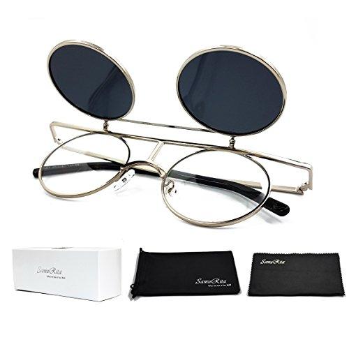 SamuRita Bold Flip Up Small Round Steampunk Sunglasses Polarized Favor Shades(Silver - Sunglasses Flip Shade