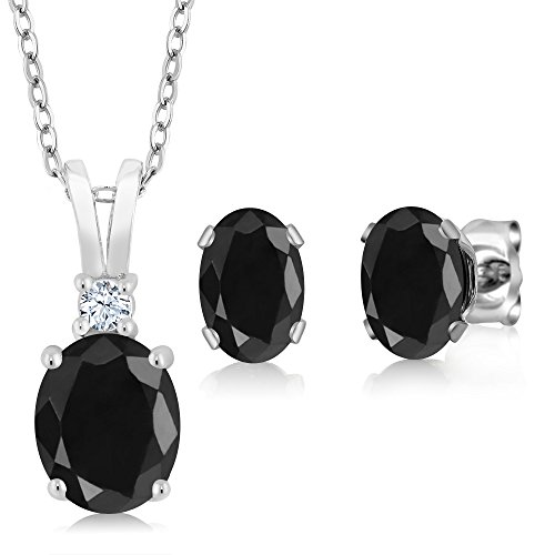 925 Sterling Silver Black Sapphire Pendant Earrings Set, 3.85 Ct Oval with 18 Inch Silver (Oval Sapphire Pendant Set)