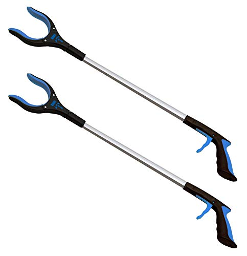 RMS 2-Pack 32 Inch Extra Long Grabber Reacher with Rotating Gripper - Mobility Aid Reaching Assist Tool, Trash Picker, Litter Pick Up, Garden Nabber, Arm Extension (Blue) from RMS Royal Medical Solutions, Inc.