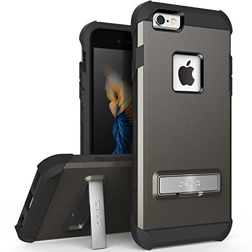 iPhone 6S Case, OBLIQ [Skyline Advance][Space Gray] with Metal Kickstand Thin Dual Layered Metallic Heavy Duty Hard Protection Hybrid Case for iPhone 6S (2015) & iPhone 6 (2014)