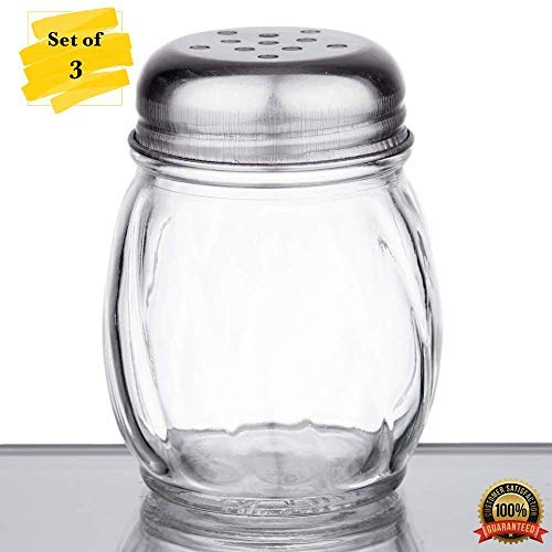 MM Foodservice Set of 3 Swirl Glass Cheese Shaker with Stainless Steel Perforated Lid (6-Ounce) ()