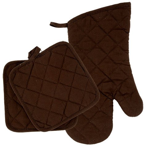 Home Collection Brown/White Kitchen Linen Bundle Package Oven Mitts (1) Pot Holder (2) Kitchen Towels (2)