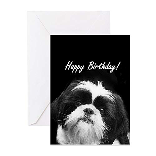 CafePress Birthday Shih Tzu Greeting Cards Greeting Card, Note Card, Birthday Card, Blank Inside Glossy