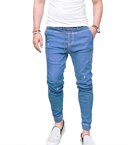 Bule Hellblau2 Slim Elecstic Comodo Battercake Skiny Da Grigio Vita Jeans Uomo Con Denim Coulisse Casual Fit Pantaloni qqTgAa