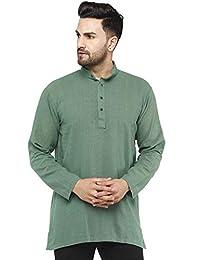 SKAVIJ Men's Cotton Casual Kurta Shirt Long Sleeve Regular Fit (Medium, Green)