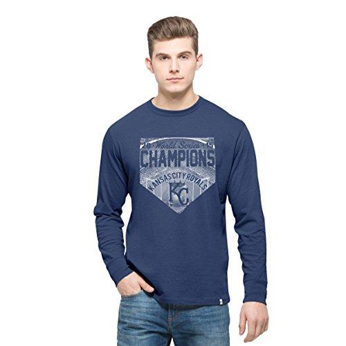 MLB Kansas City Royals Men's 2015 World Series Champions '47 Crosstown Long Sleeve Flanker Tee, Bleacher Blue, XX-Large,Bleacher Blue