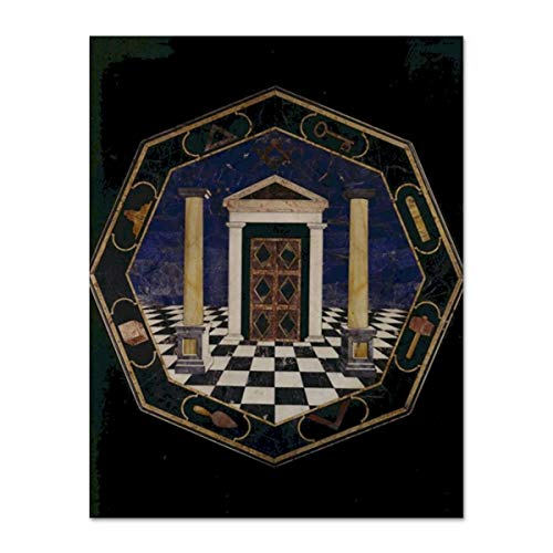 An Octagonal Pietre Dure Masonic Postcard ()