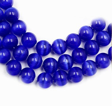 Aqua Blue Cats Eye Beads - FunnyPicker Approx 50Pcs/Lot Navy Blue Round Cat Eyes Beads 8Mm 50 pieces/lot