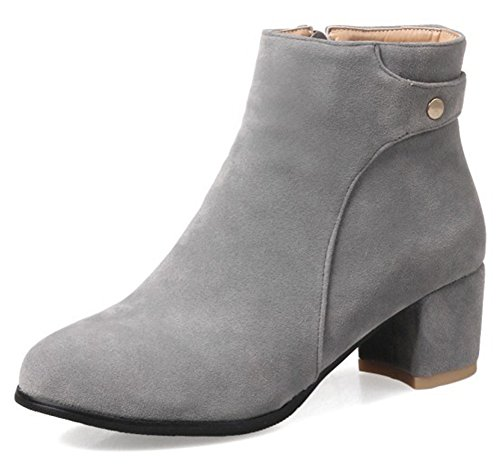 Toe Suede Medium Women's Gray Aisun Block Side Ankle Faux Trendy Booties Zipper Heel Round wpXwxC8