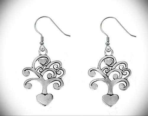 "2 1/3"" Heart Tree Forest Nature Silver Tone Lightweight Dangle Earrings"