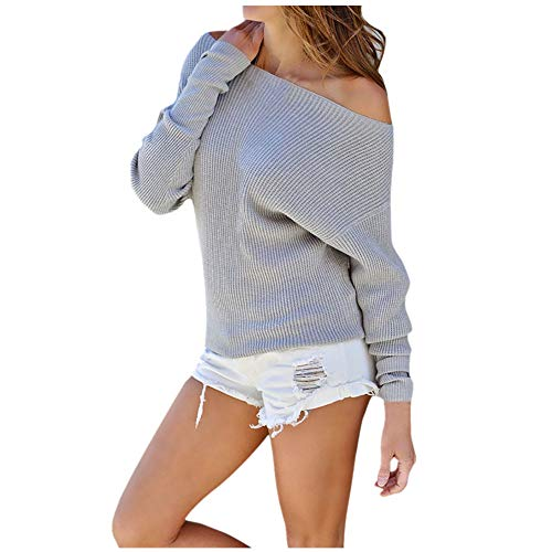 Sunhusing Fashion Women Off-Shoulder Knitted Long-Sleeve Blouse Comfy Solid Color Sweater Gray