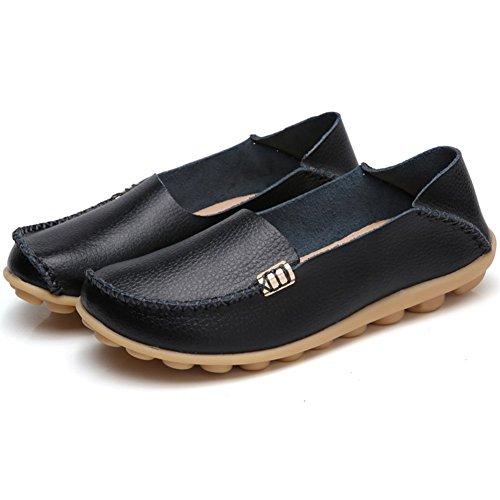 Tiosebon Donna Comfort A Piedi Mocassino Piatto Casual Pantofole Mocassino Driving Shoes Flat Slip-on Xxh996 Nero