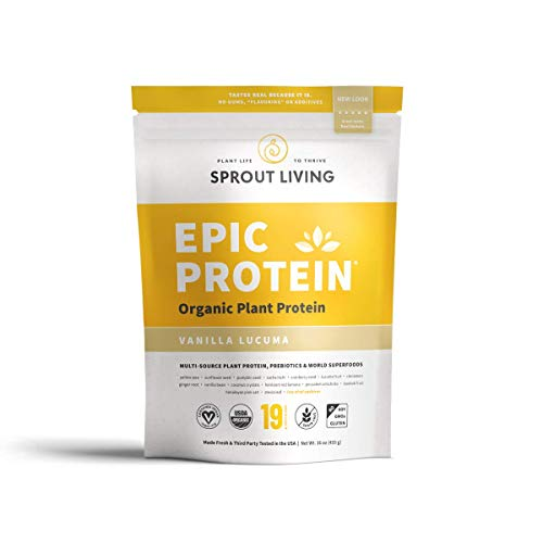Sprout Living Epic Protein Powder, Vanilla Lucuma Flavor, Organic Plant Protein, Gluten Free, No Additives, 19 Grams Clean Vegan Protein (1 Pound,13 Servings) (Best Sprouts For Protein)