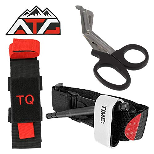 (ATG Tactical Tourniquet & Trauma Medical Shear Pouch MOLLE PALS Duty Belt Loop EMT EMS PVC Rubber Patch (Pouch Only, Black/Red))
