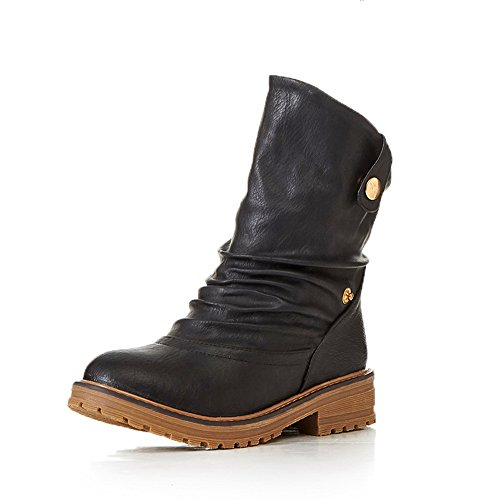 Leather Imitated Heels Boots Womens AdeeSu Square Platform On Pull Black Ox0H1O6Yqw