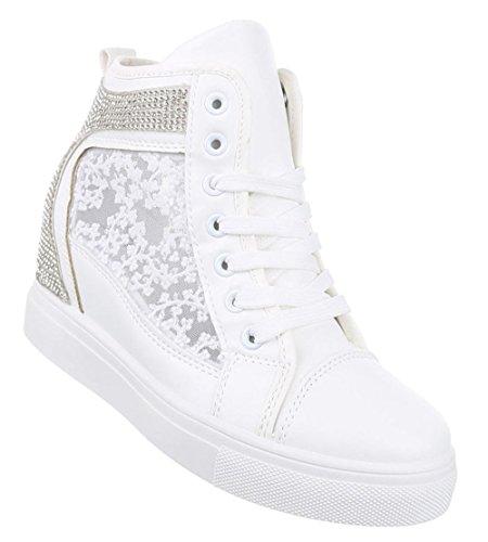 Damen-Schuhe Sneaker   sportliche Freizeitschuhe in Weiß und Größe 40   Schuhcity24   mit Spitze und Strass