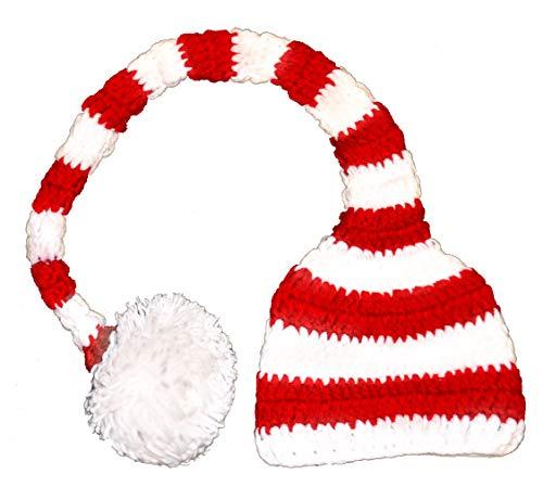 Ball Crochet Striped - Adult Christmas Long Tail Santa Crochet Elf Red White Striped Tail Hat with Pom Pom Xmas Ball
