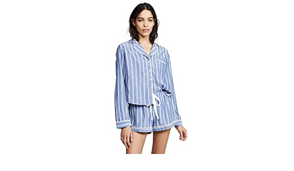435a9d16ac40a8 Rails Women's Romana Stripe Short Pyjama Set Blue L: Amazon.ca: Clothing &  Accessories