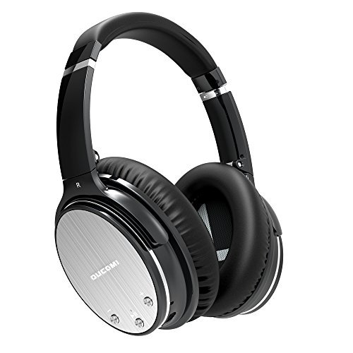 OUCOMI Active Bluetooth Over-ear Headphones Noise Cancelling with Microphone Deep Bass Wireless Hi-Fi Stereo Headsets Iron Grey